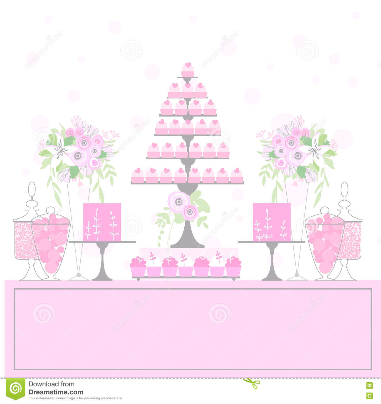 Sweet table with cupcakes stock vector illustration of donut wedding dessert bar with cake birthday sweet table candy buffet pink colors vector illustration watchthetrailerfo