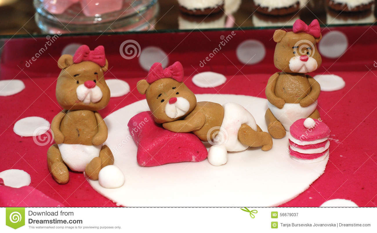 Sweet Teddy Bears On A Birthday Cake Stock Image Image Of First