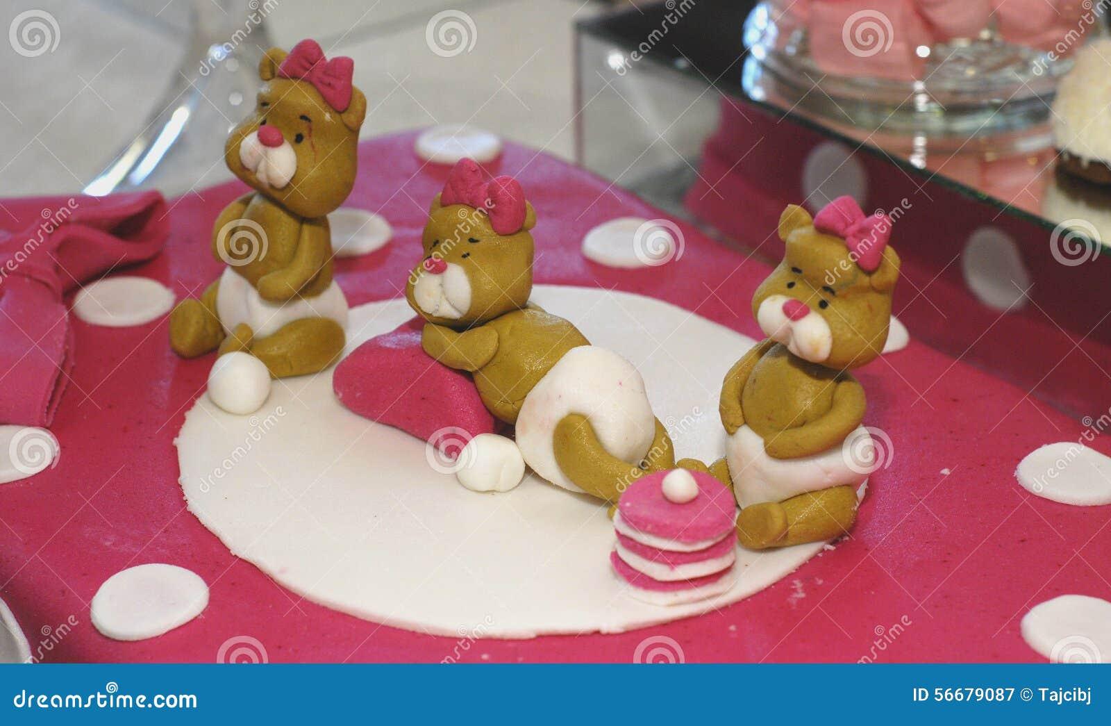 Cute Sweet Teddy Bears On A Birthday Cake
