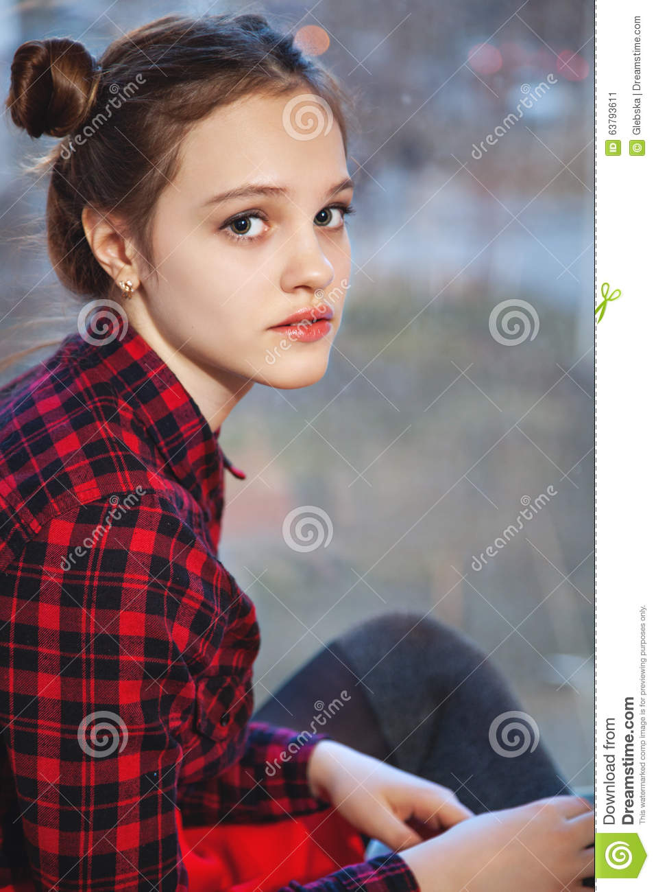Girl Teen Teenager Transition Age 13 14 15 Years Brunette: Sweet Teen Girl With Tuft Of Hair Stock Image