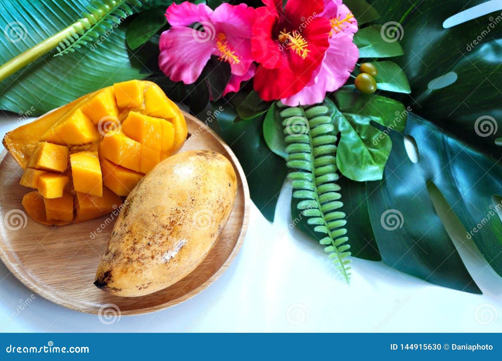 Sweet Thai Mango  on Wooden Plate