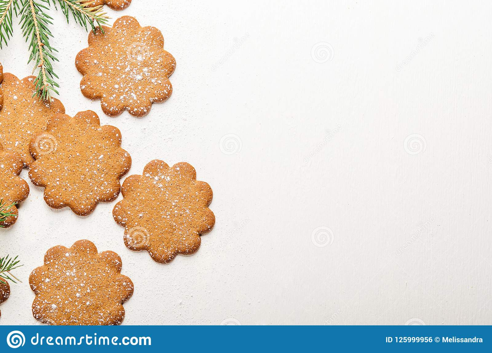 Sweet Thin Ginger Cookies On White Background With Powdered Sugar