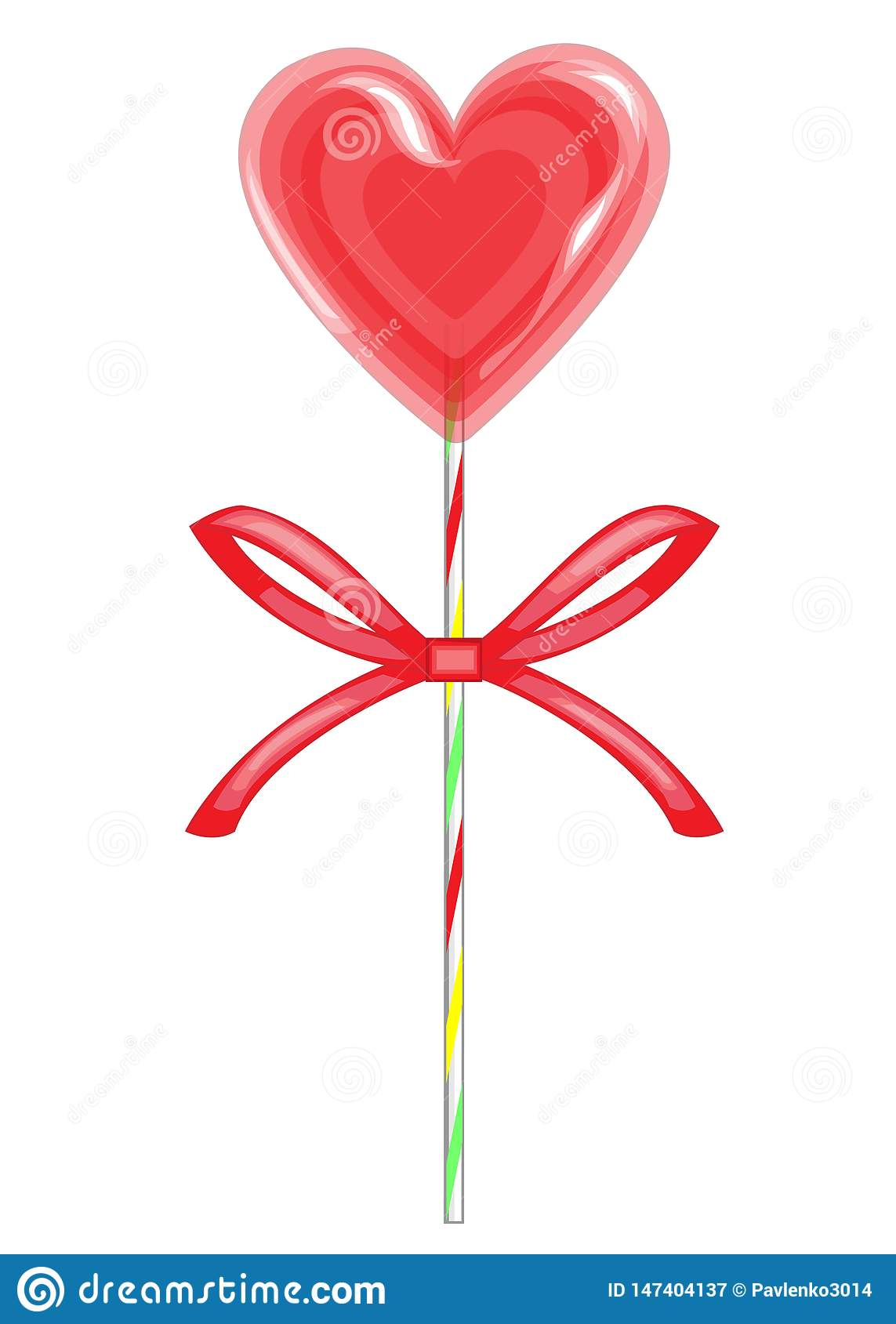 Sweet treat on a stick. Red candy in the shape of heart bandaged with ribbon. Valentine s gift for St. Valentine s Day. Vector