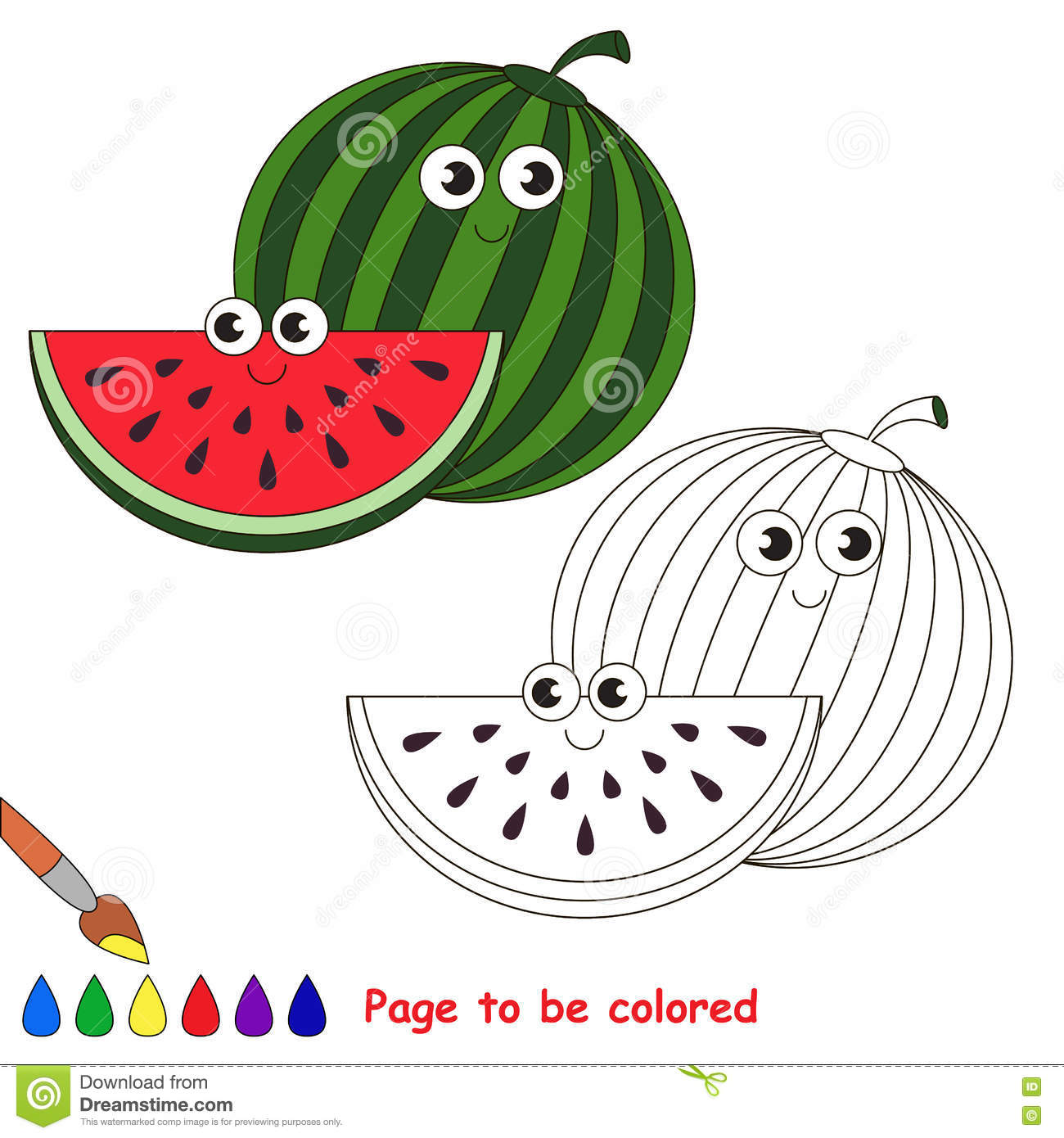 Sweet Watermelon Cartoon. Page To Be Colored. Stock Vector ...