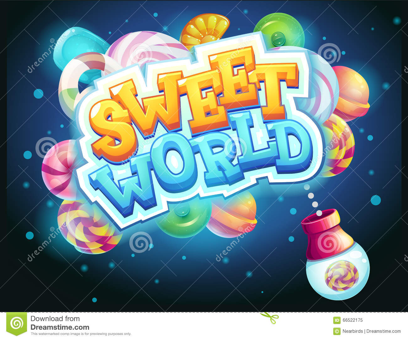 Sweet World Gui Game Window Candy Shooter Stock Vector