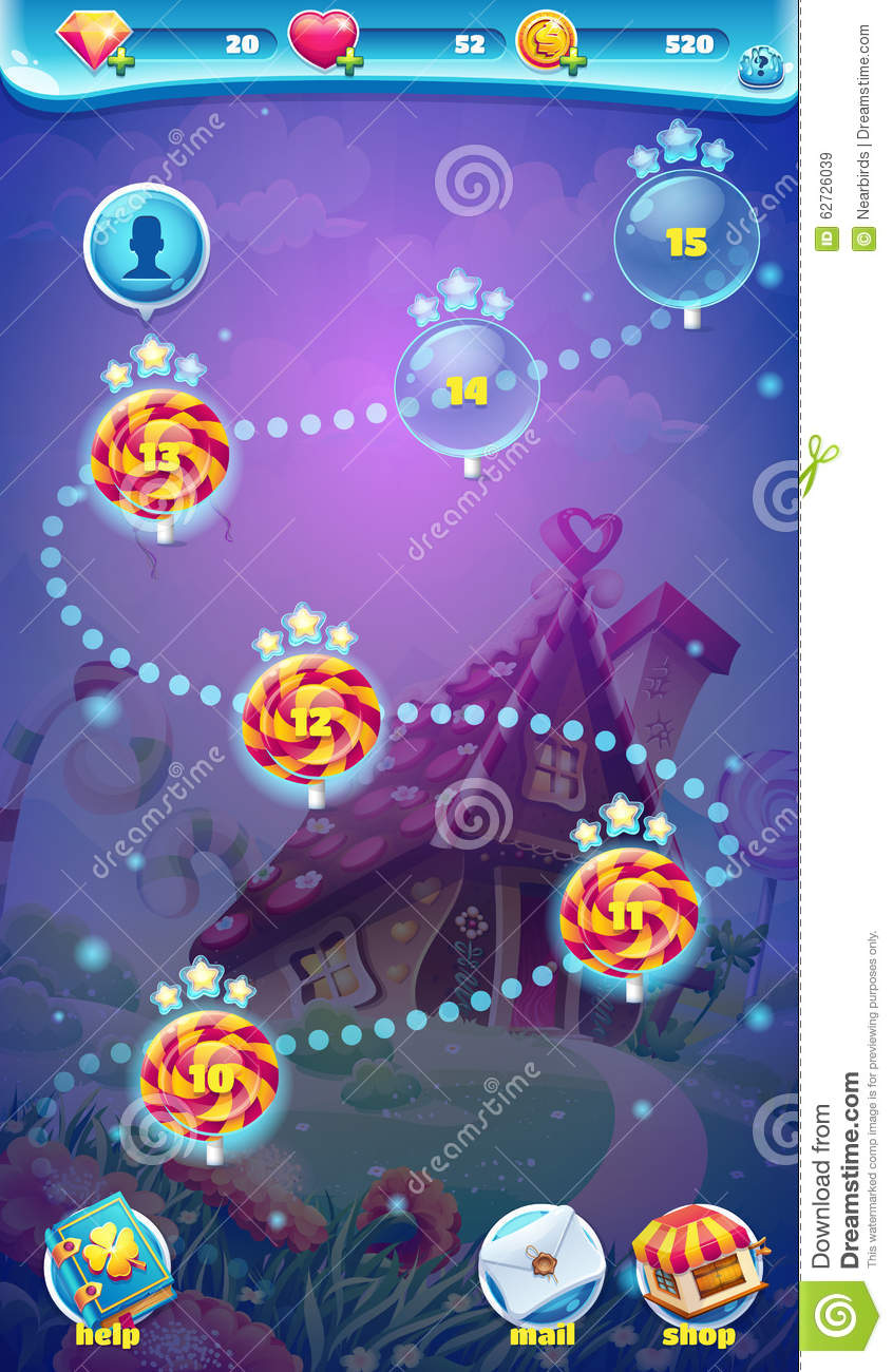 Sweet world mobile gui map screen video web games stock vector sweet world mobile gui map screen video web games royalty free vector download gumiabroncs Image collections