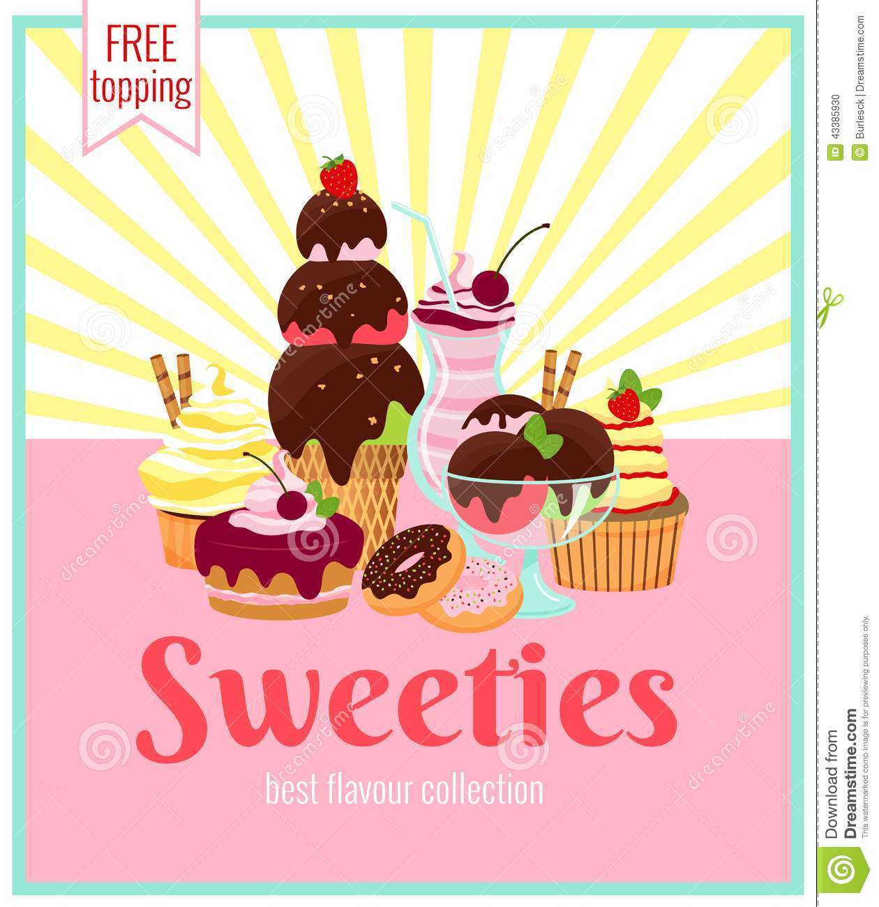 Sweeties retro poster design with a colorful array of ice cream cakes ...