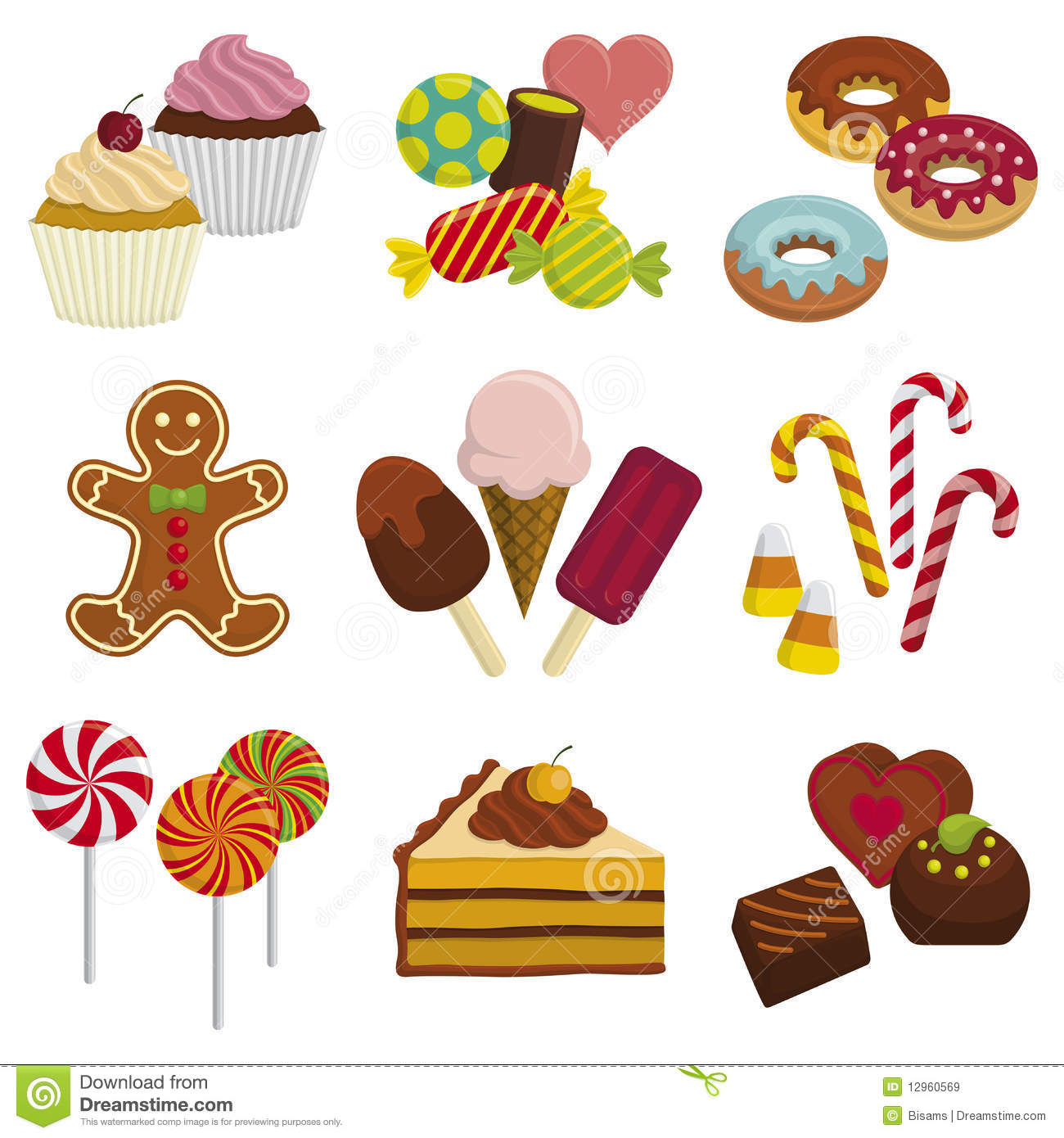 Sweets stock vector. Illustration of gummy, lollypop ...