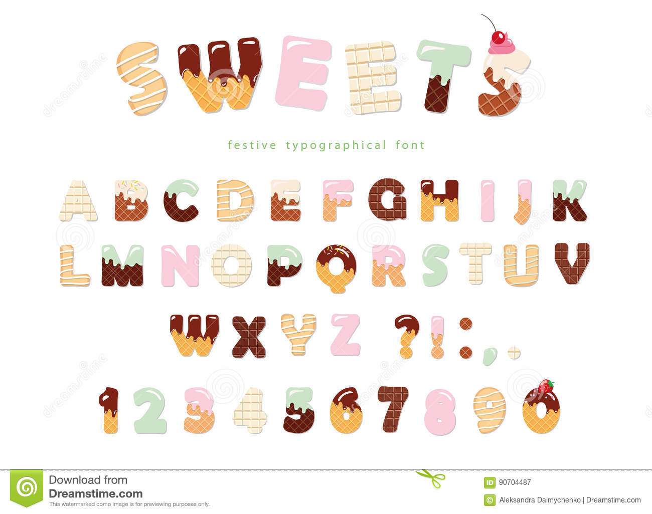 Sweets Bakery Font Design Funny Latin Alphabet Letters