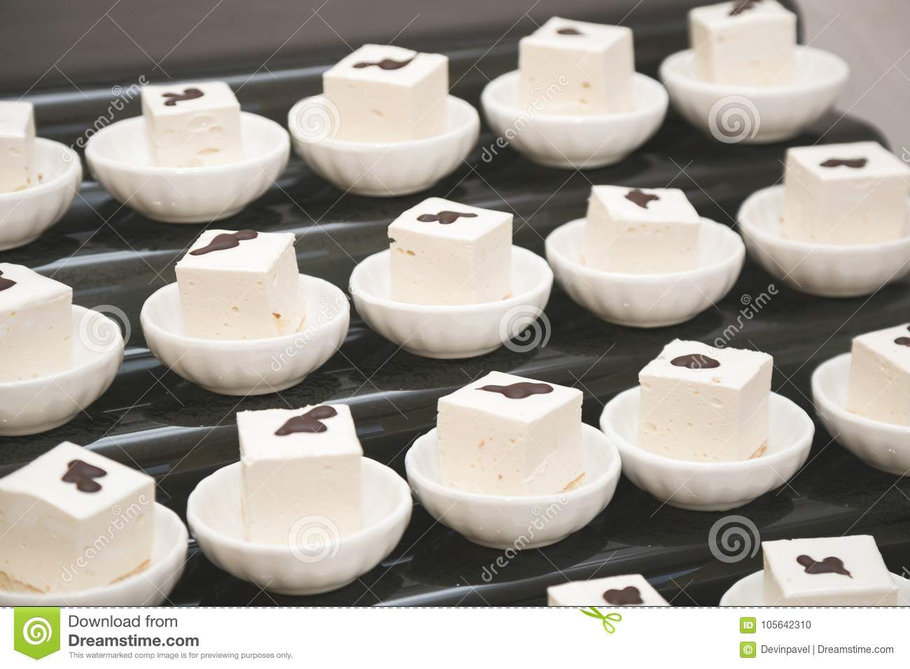 Download comp & Sweets In The Cafe. Portion Marshmallow In Plates Stock Photo ...