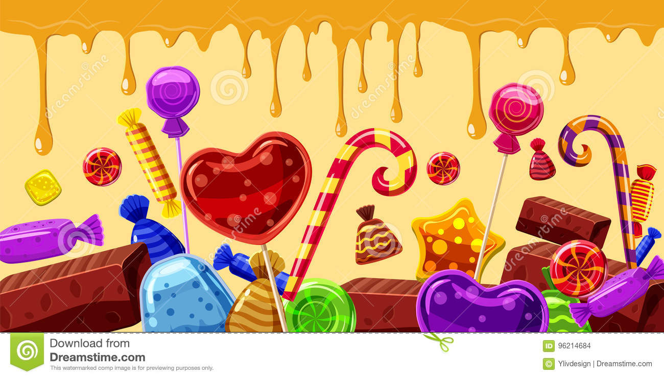 Sweets cakes banner horizontal line, cartoon style