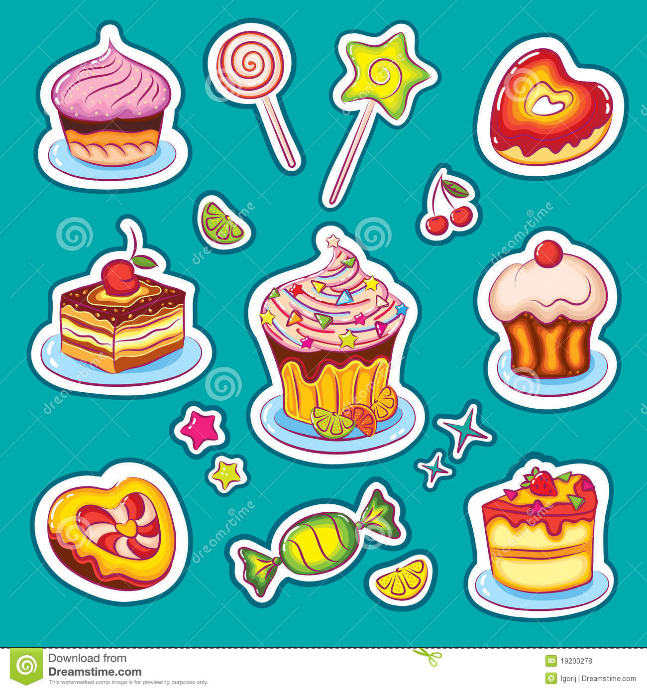 Cake Images Sweets : Sweets And Cakes Stickers Royalty Free Stock Photos ...