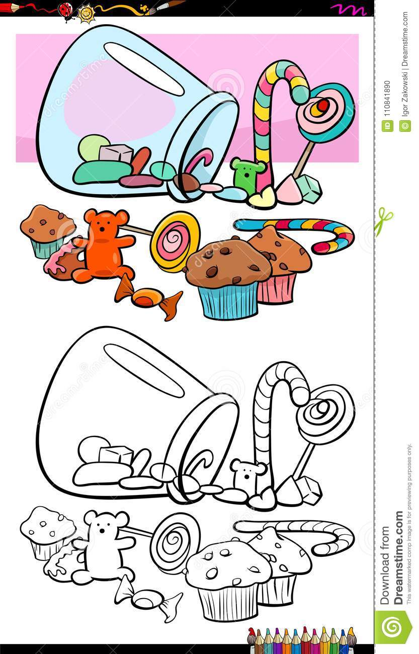 Sweets And Candies Group Coloring Book Stock Vector ...