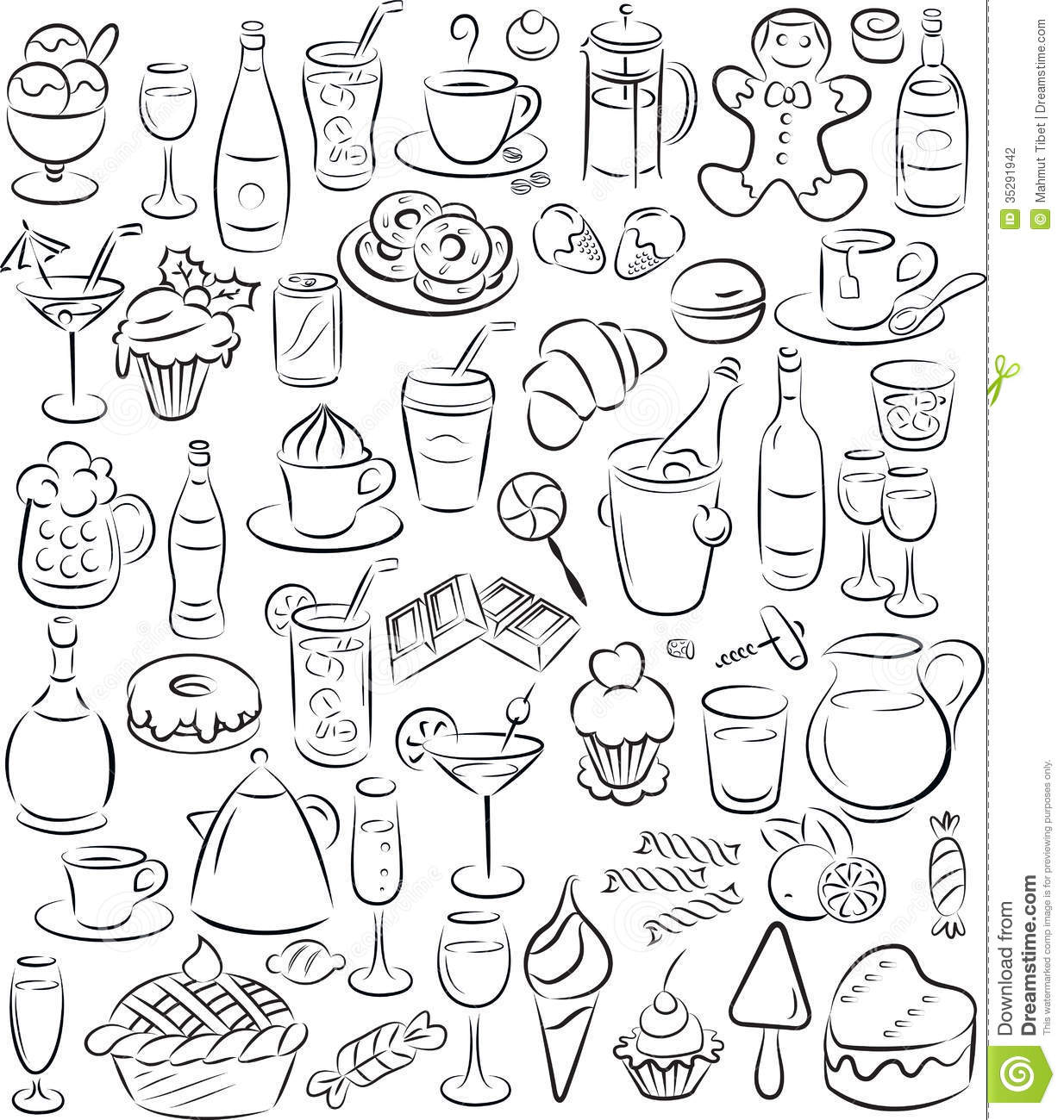 Sweets And Drinks Stock Vector Image Of Glass Drinks