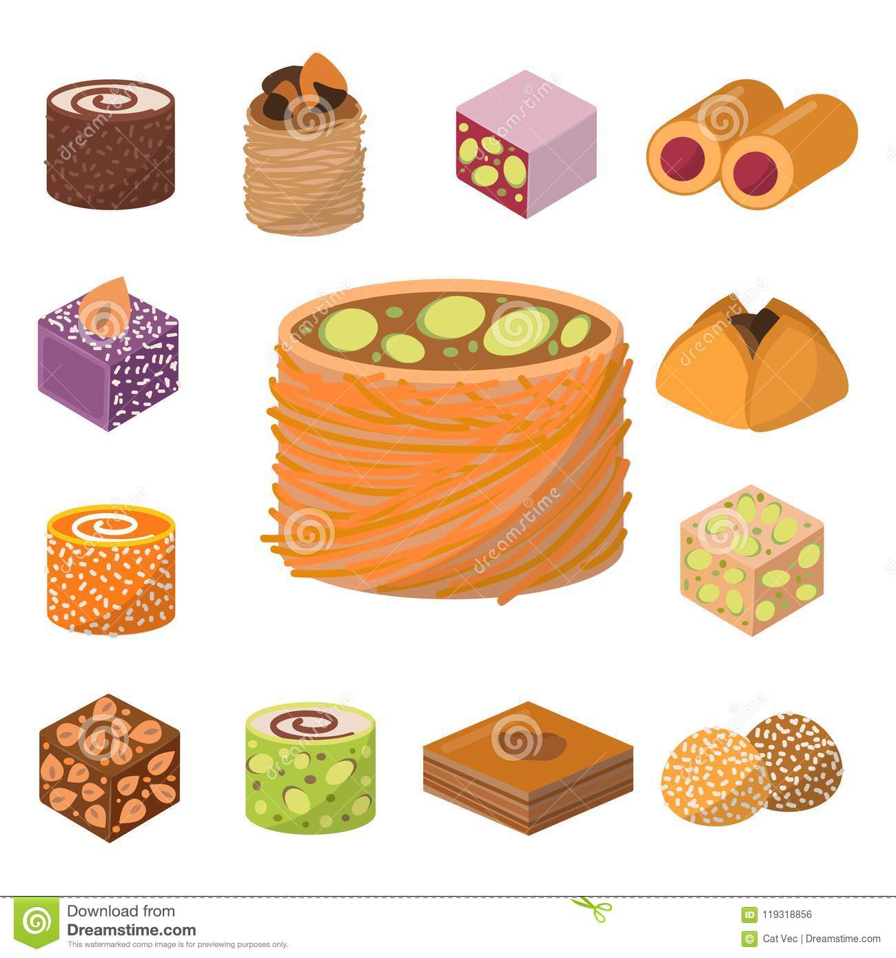 Sweets east delicious dessert food vector confectionery homemade assortment chocolate cake tasty bakery sweetness