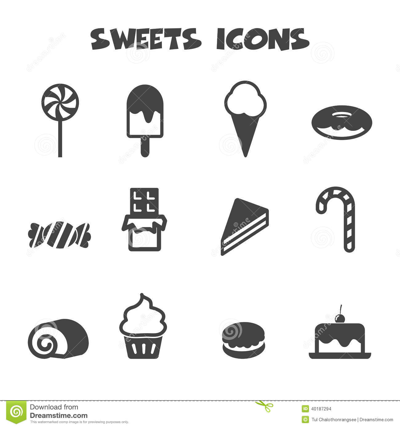 Sweets Icons Stock Vector Image Of Cone Design