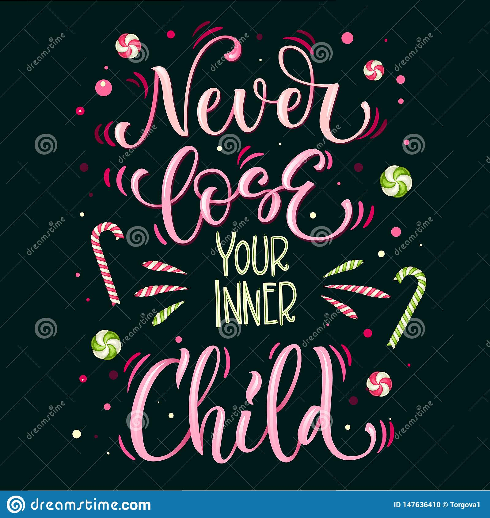 Sweets quote colorful hand draw lettering phrase - Never loose your inner Child - in bright green and pink colors