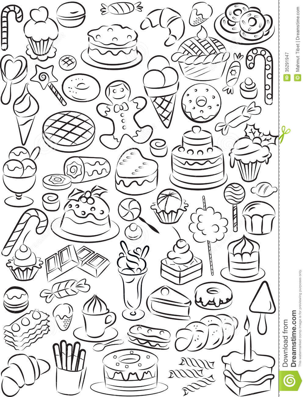 Sweets stock vector. Illustration of chocolate, line ...