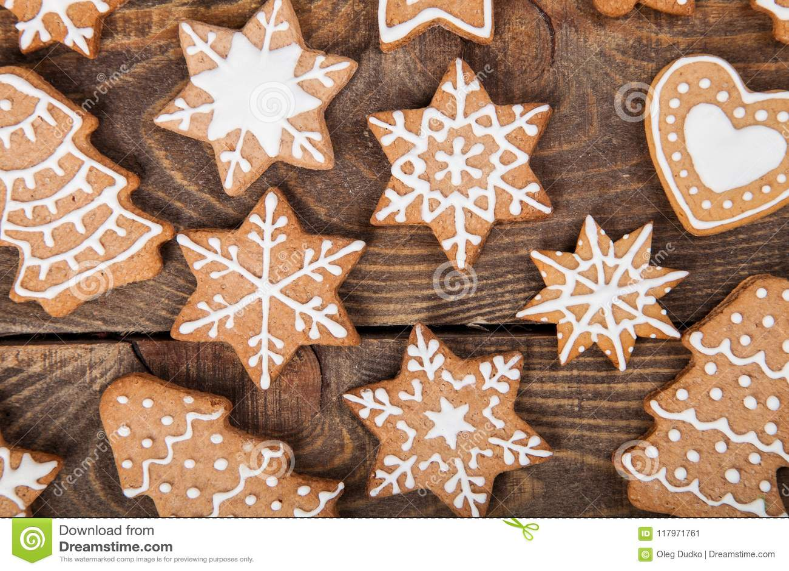Gingerbread Reindeer Cookies And Christmas Stock Image Image Of
