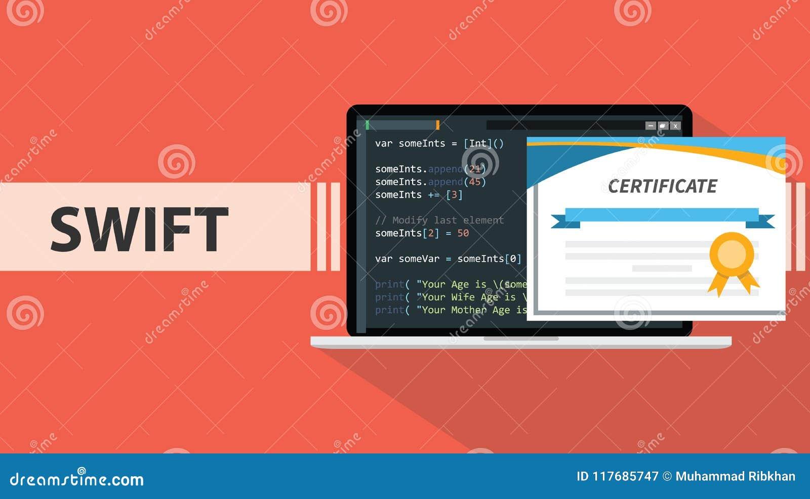 Swift Programming Online Learning Certification School Stock