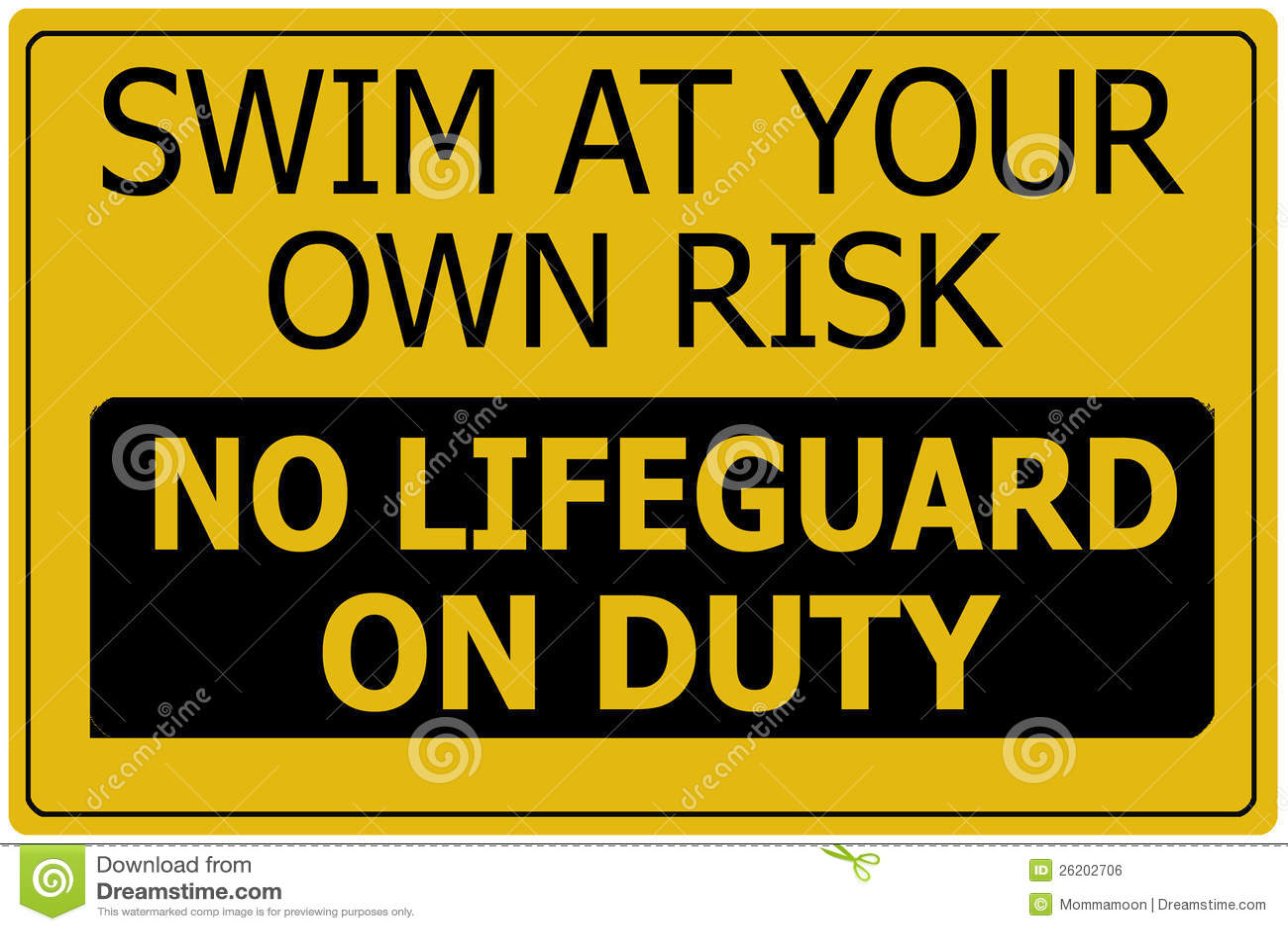 Swim at Own Risk Sign