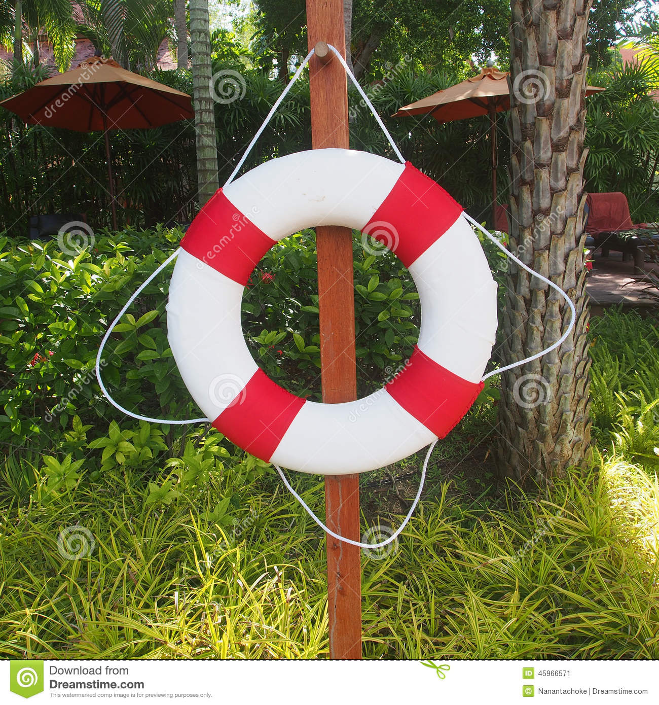 Swim Ring For Lifesaver On The Side Swimming Pool Stock