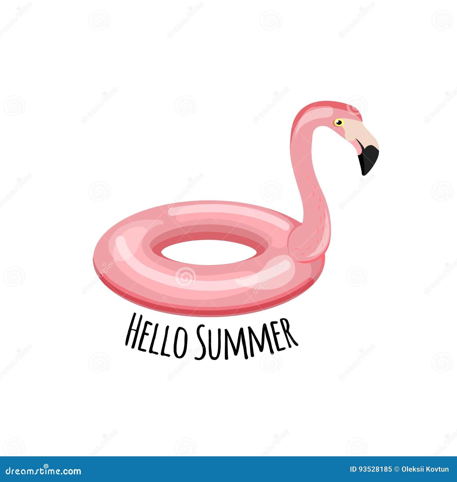 Swim Ring Shape Of Flamingo Vector Illustration Cartoon