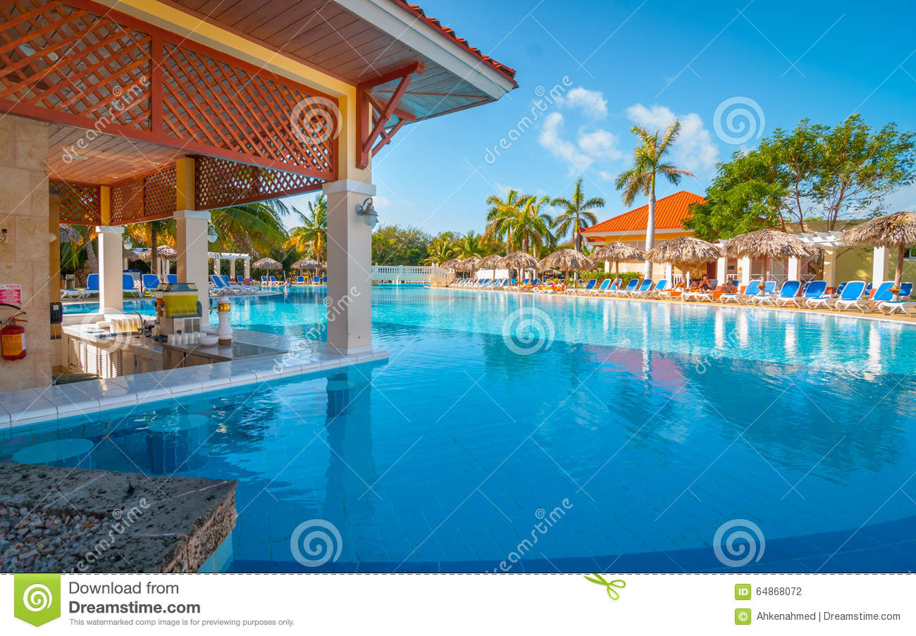 A Swim Up Bar And Pool At A Varadero Cuban Resort Stock Image