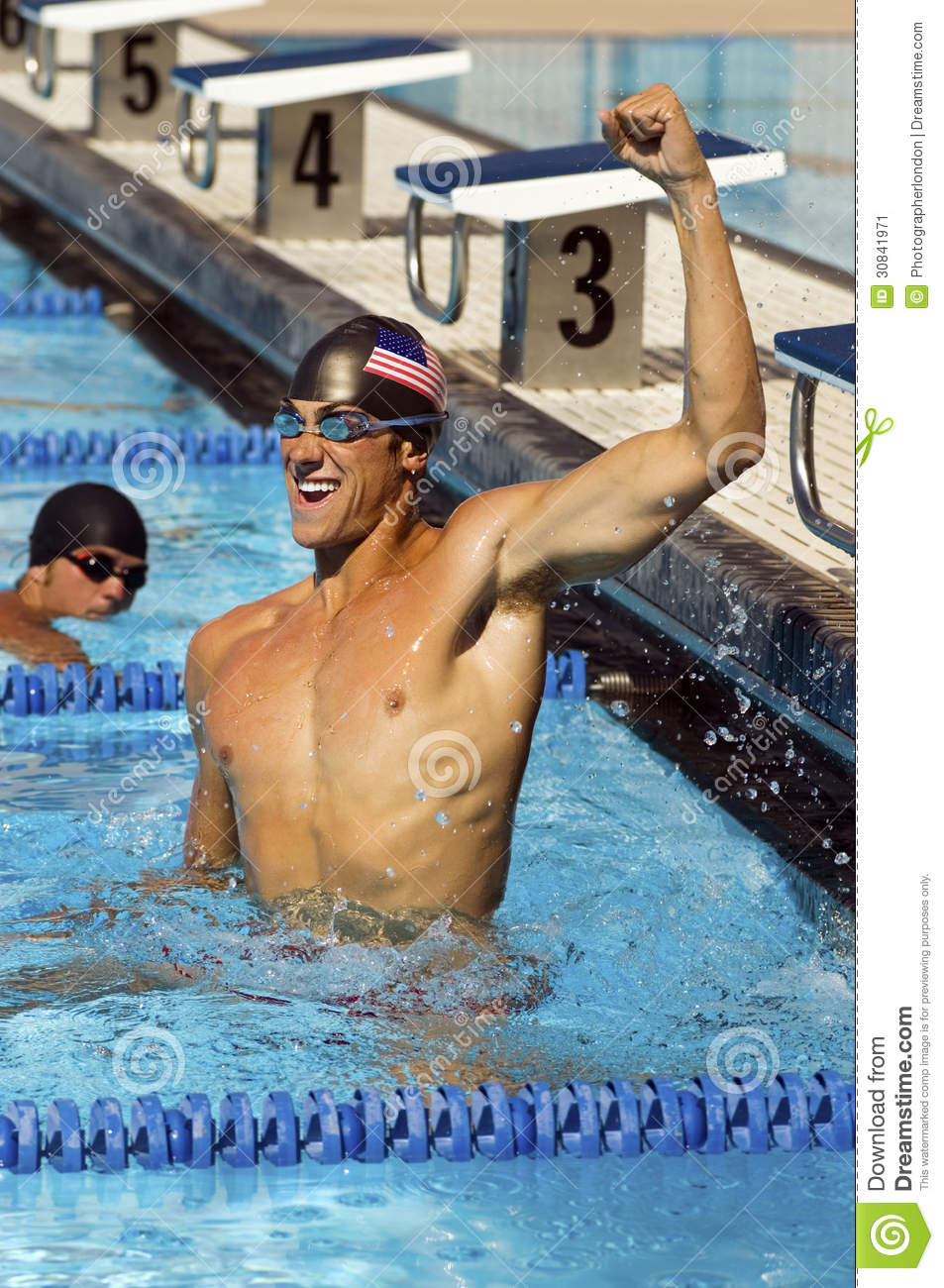 Swimmer Celebrating Victory In Pool Stock Image Image 30841971
