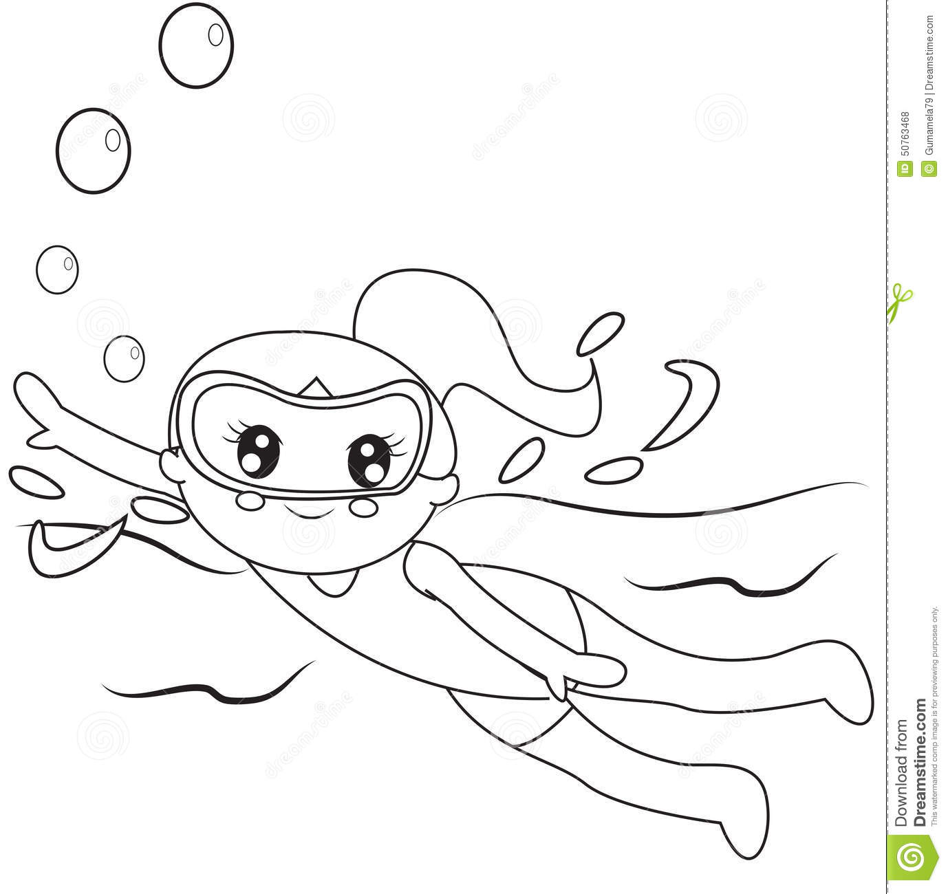 Swimmer coloring page stock illustration. Illustration of ... Kids Swimming Black And White