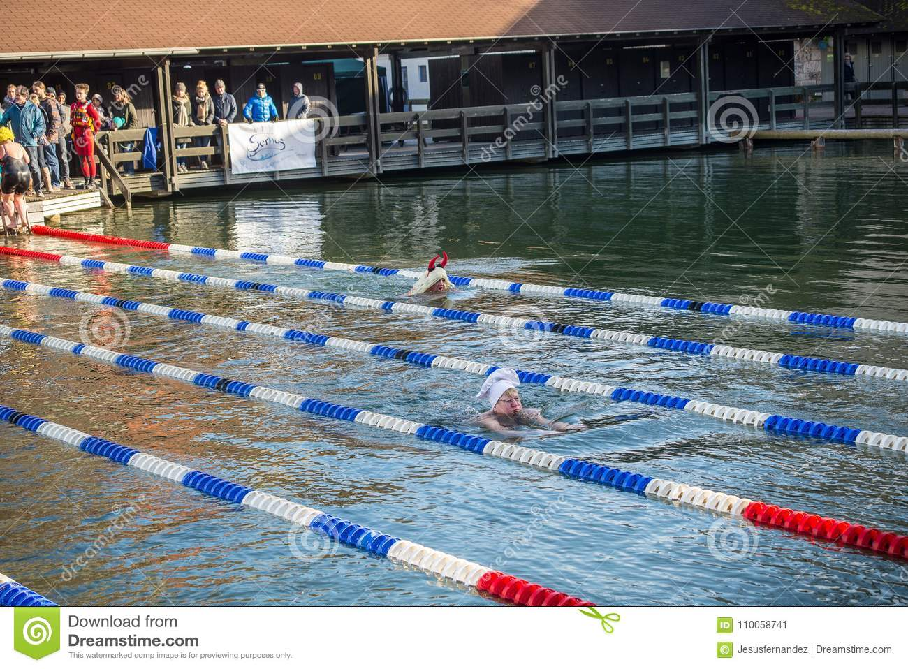 Swimmer In Costumes In Freezing Water Editorial Photo Image Of