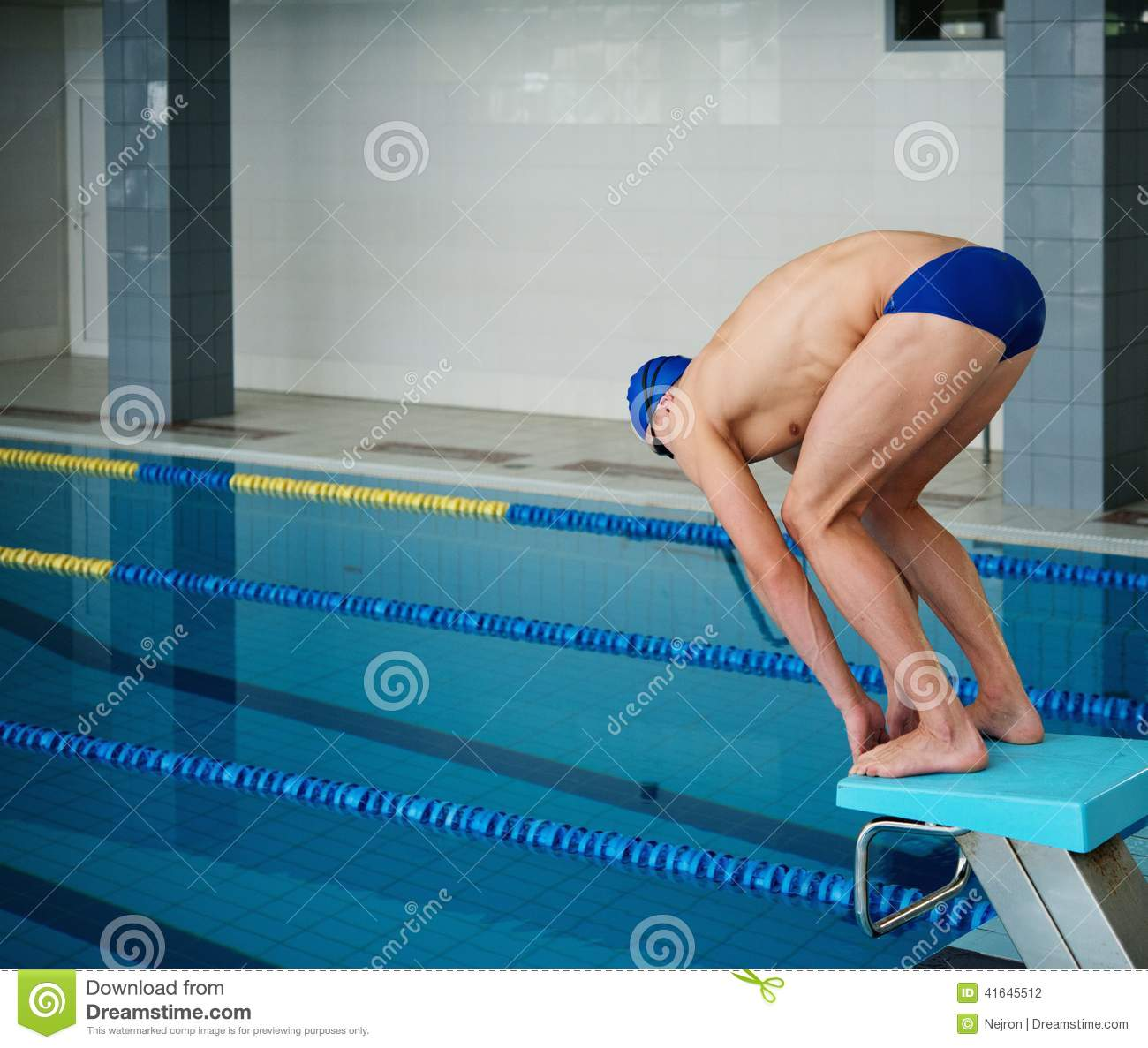 swimmer jumping from starting block stock photo image of sport competition 41645512. Black Bedroom Furniture Sets. Home Design Ideas
