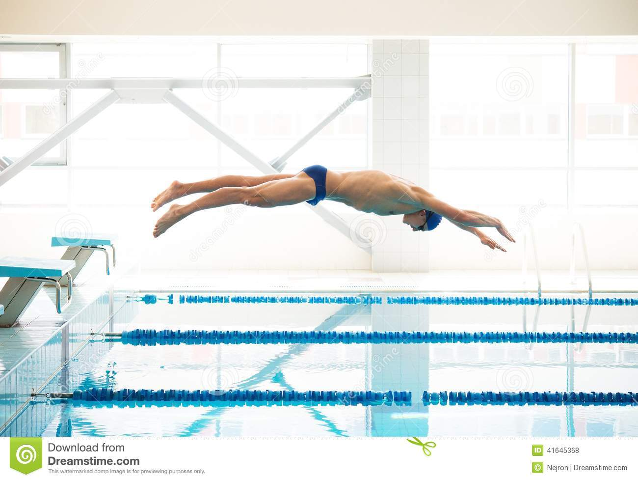 royalty free stock photo download swimmer jumping from starting block - Olympic Swimming Starting Blocks