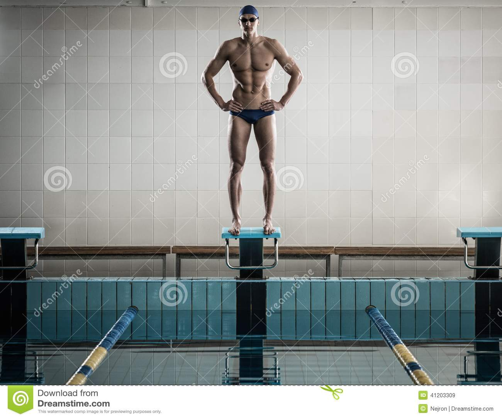 Swimmer standing on starting block stock image image 41203309 - Olympic swimming starting blocks ...