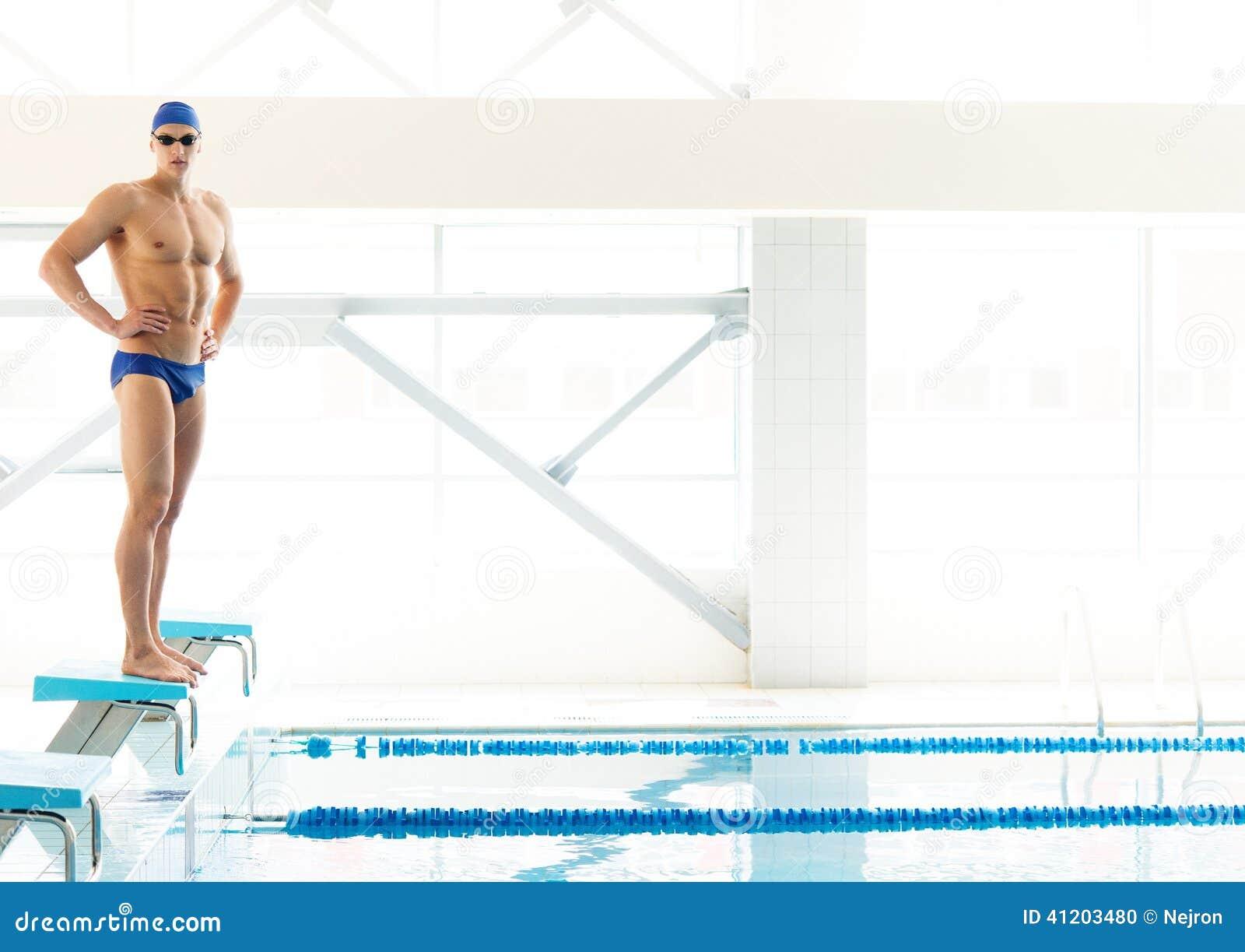 Swimmer Standing On Starting Block Stock Photo Image 41203480