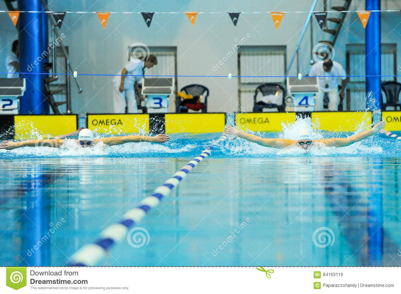 Swimmer Takes Part In The Competition Editorial Stock Image Image 64163119