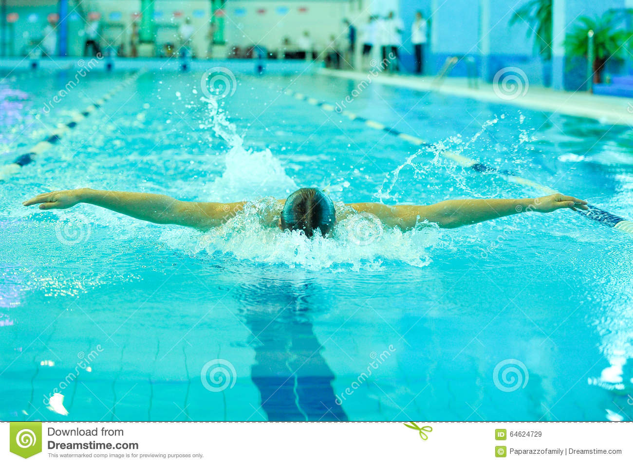 Swimmer Takes Part In The Competition Editorial Stock Image Image 64624729