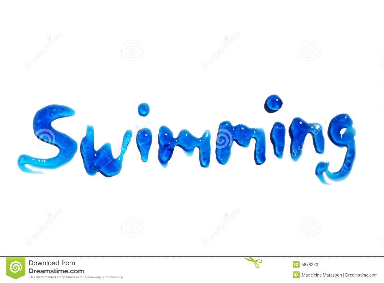 The word swimming written in blue, isolated on white.
