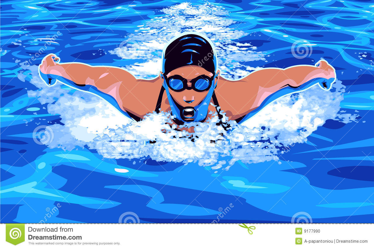 Vector clip art illustration of woman swimmer in competitive swimming ...