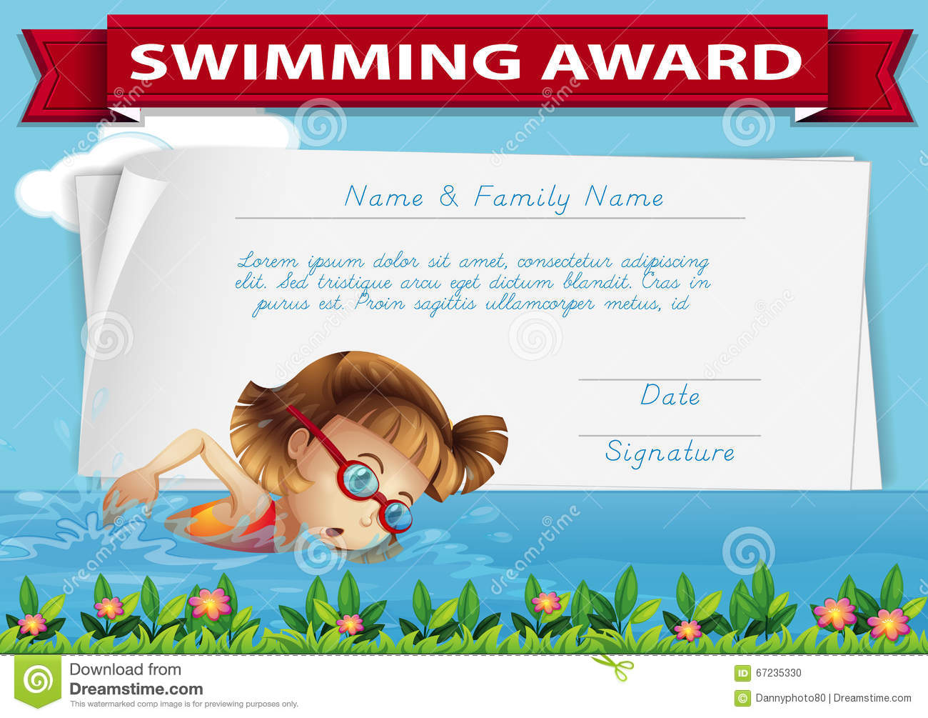 Swimming Award Certificate Template Stock Illustration - Image ...