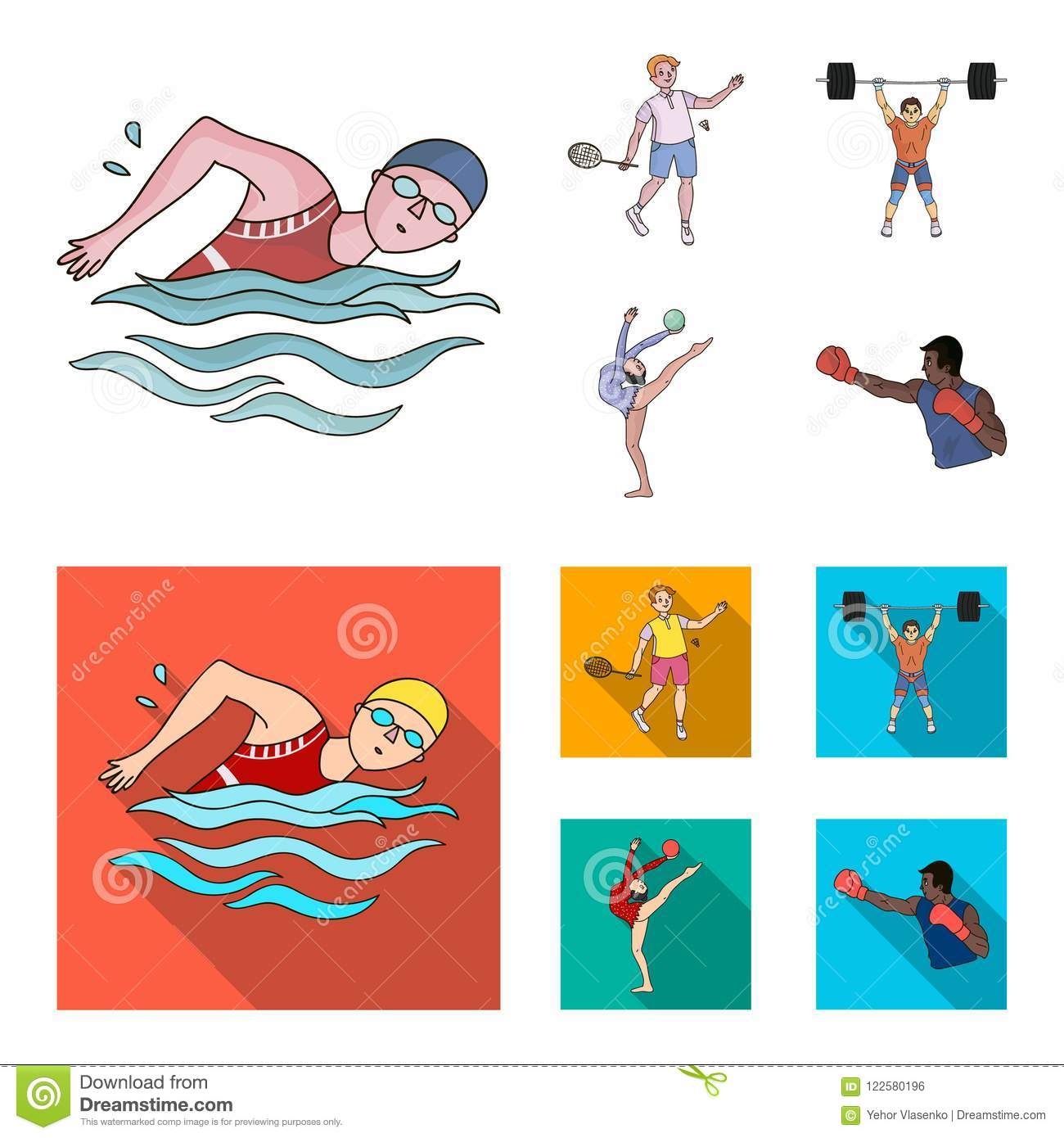 Swimming Badminton Weightlifting Artistic Gymnastics Olympic Sport Set Collection Icons In Cartoon Flat Style Vector Stock Vector Illustration Of Logo Heavy 122580196