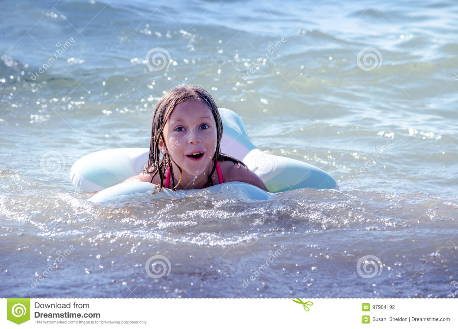 Swimming child on lake Michigan