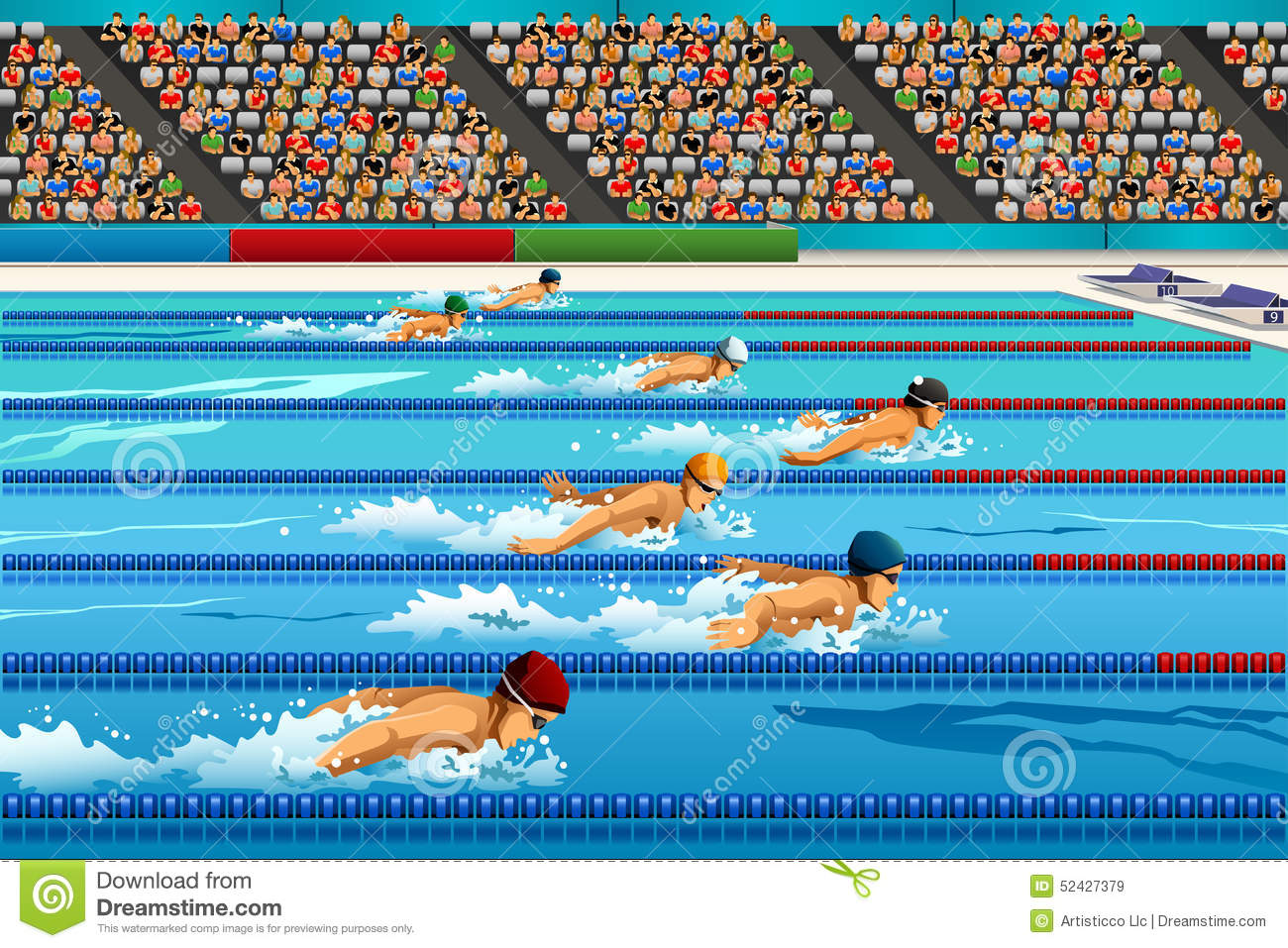 Swimming Competition Stock Vector Illustration Of Pool 52427379