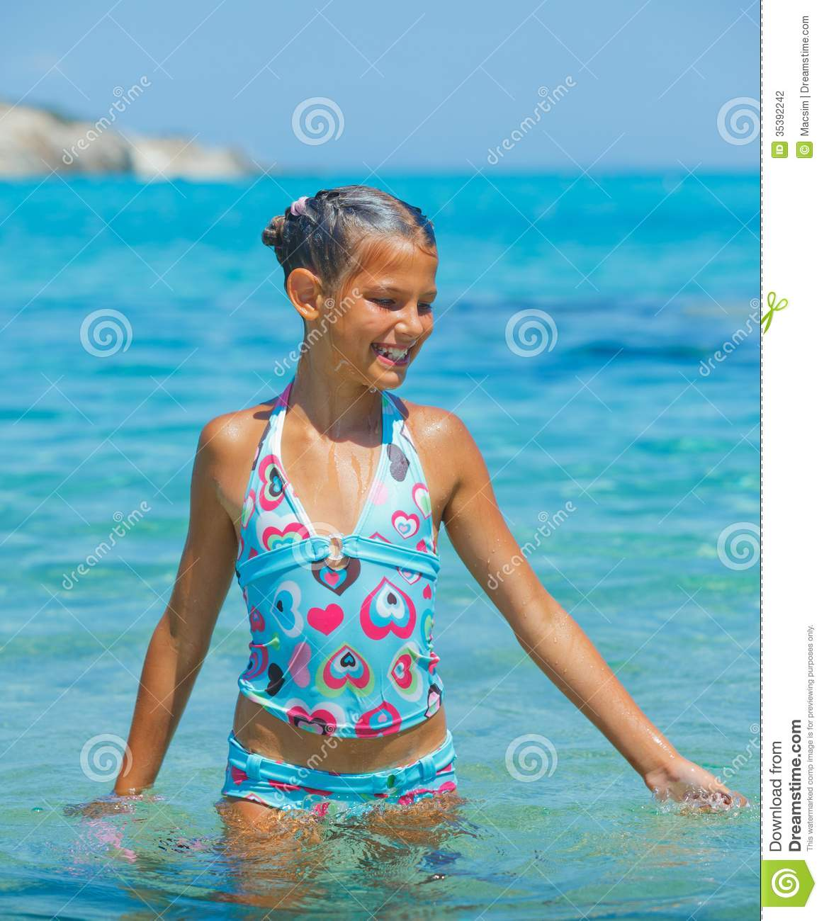 Swimming Cute Girl Stock Photography - Image: 35392242: www.dreamstime.com/stock-photography-swimming-cute-girl-portrait...