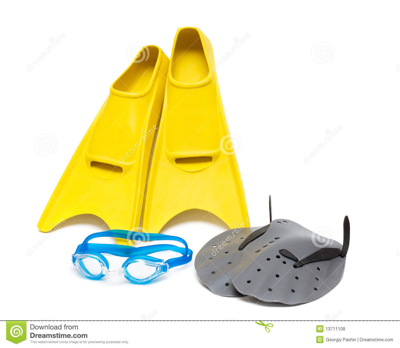 Swimming Equipment, Flippers Goggles Paddles Royalty Free ...