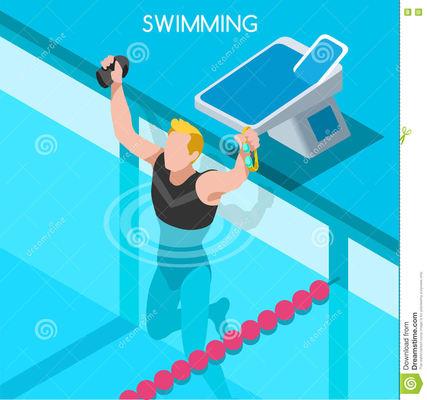 swimming freestyle summer games icon set 3d isometric swimmer