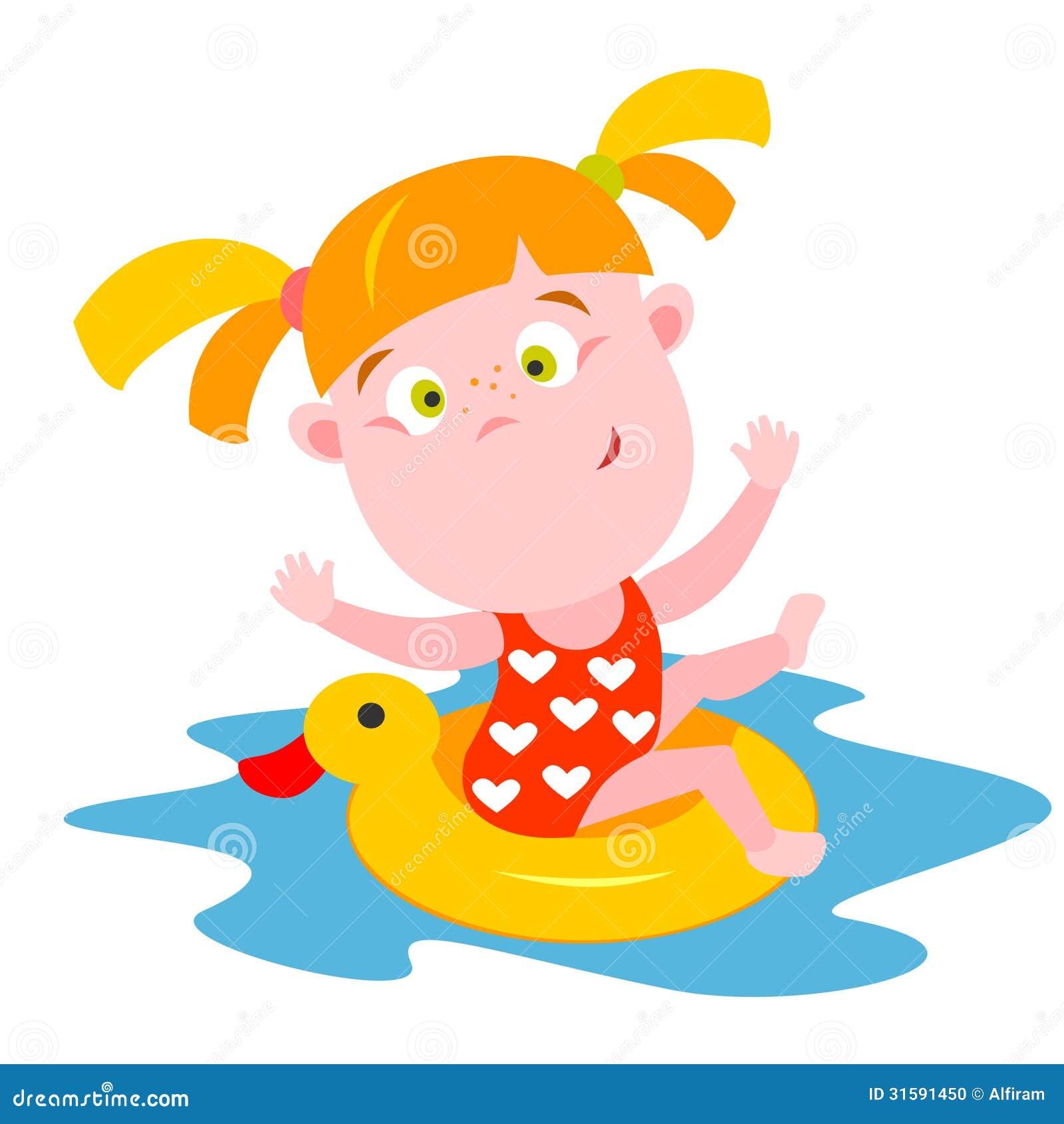 Swimming girl stock vector. Illustration of cute, child ...  Little