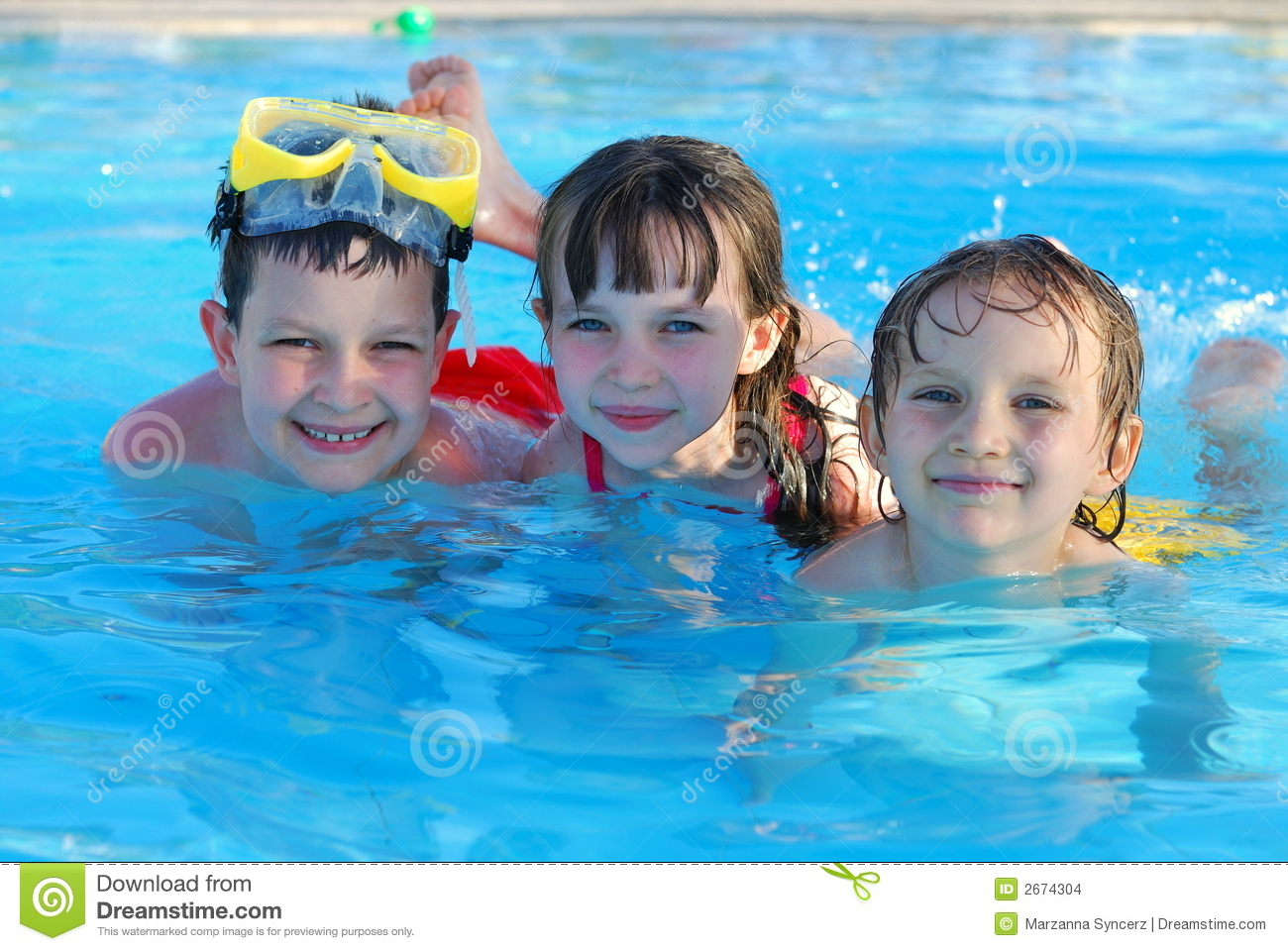 Swimming kids stock photo image of brothers goggles for Kids swimming pool