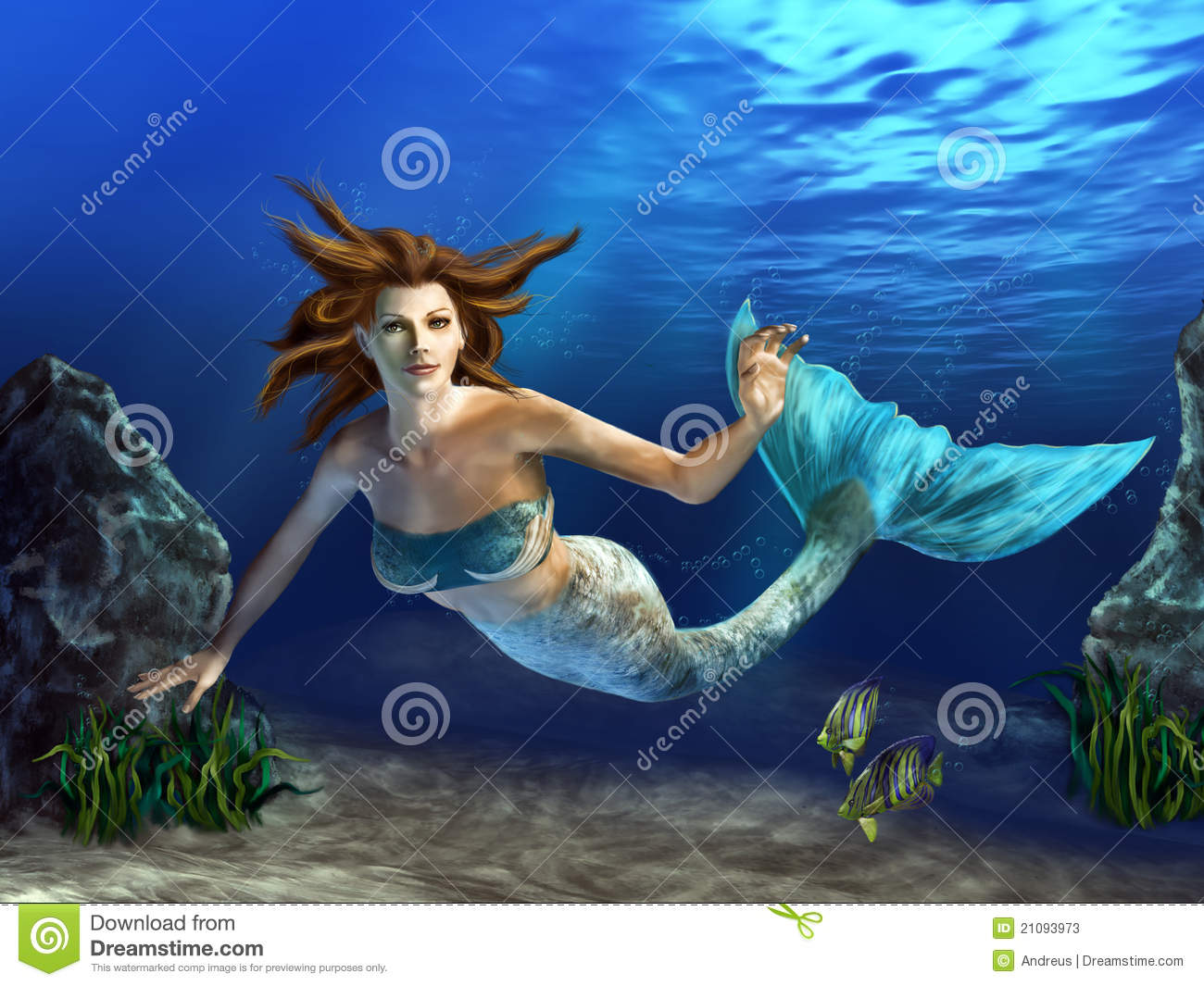 Beautiful mermaid swimming in a blue sea, surrounded by rocks, plants ...
