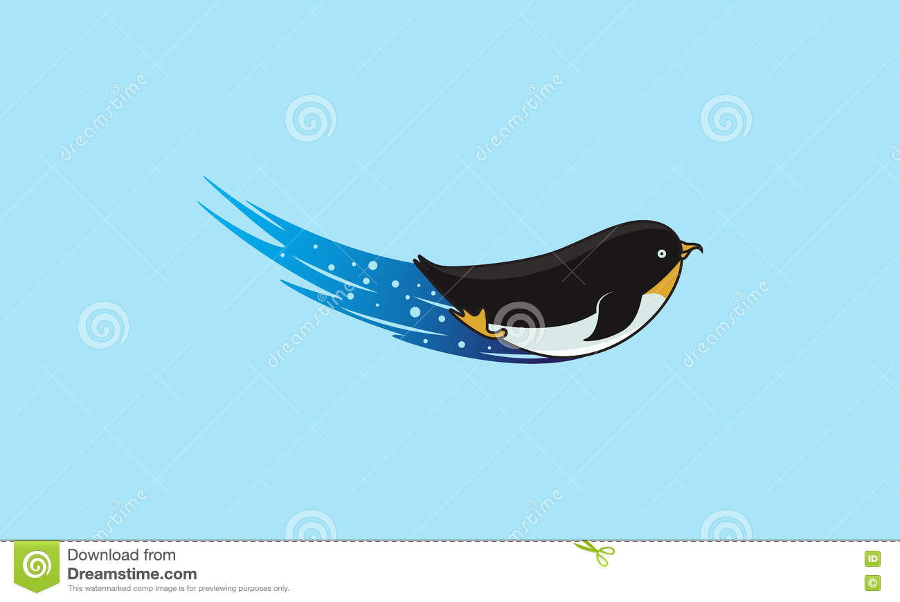 swimming penguin stock vector image 77186379